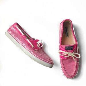 Sperry Top Sider hot pink sequin loafer sneakers